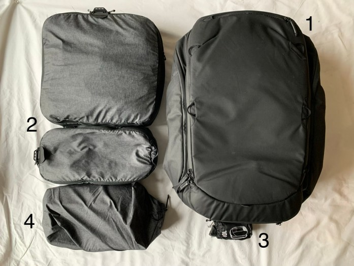 View of backpack, two packing cubes, a shoe pouch, and a 10L backpack.