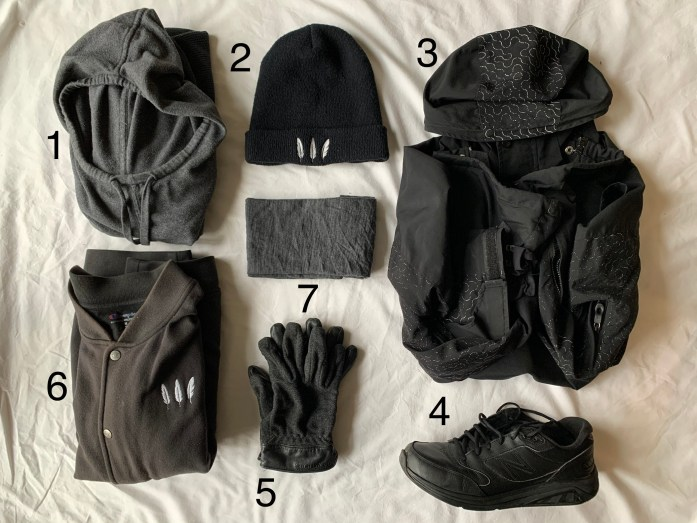 Outerwear that was worn outside my backpack during the trip, including hat, sweatshirt, coat, gloves, and buff.