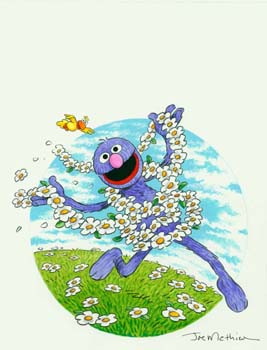 Grover with Flowers Sesame Street