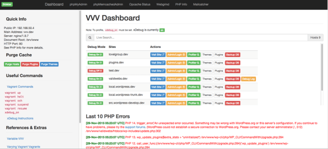 VVV dashboard, v0.1.3.