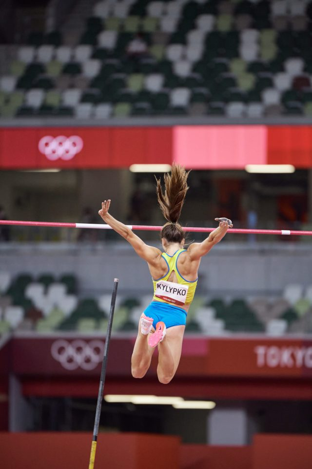 Phot of Ukraine's Maryna Kylypko in the women's pole vault qualifications during the Tokyo 2020 Olympics at the Olympic Stadium in Tokyo, Japan.