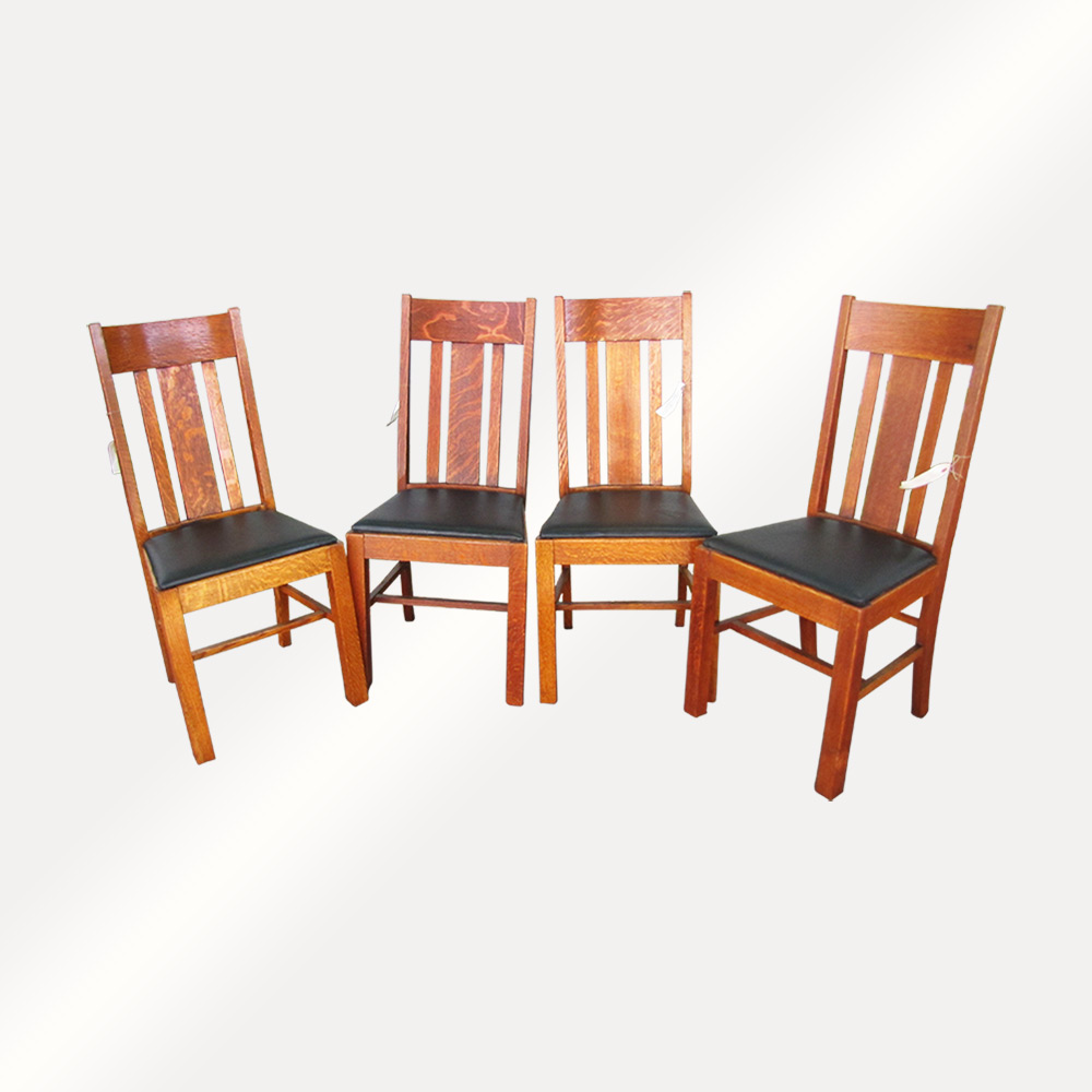 set of 4 dining chairs upholstered arm antique arts and crafts stickley era wisconsin chair company home shop furniture w4331