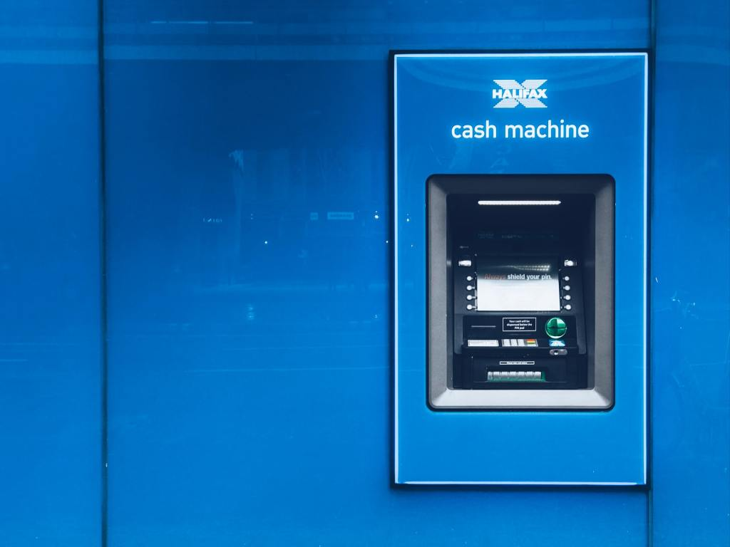 blue cash machine