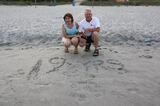 Recreating the sand art we first made on our honeymoon in 1992.