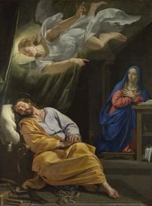The Dream of Saint Joseph by Philippe de Champaigne, 1602 - 1674, Oil on canvas, 209.5 x 155.8 cm Bought, 1957.