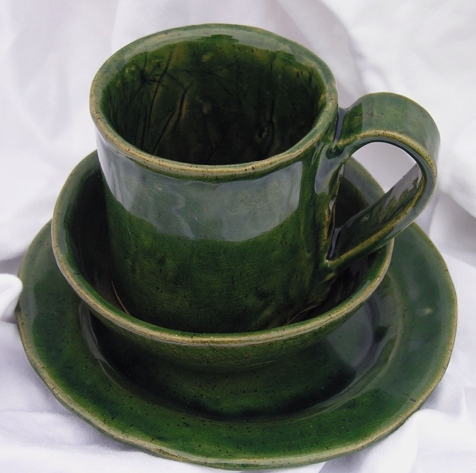 Cecelia Pippin Pottery - Green Mug Bowl & Plate