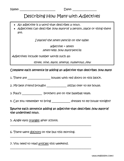 small resolution of Adjective And Adverb Worksheets With Answer Key Pdf