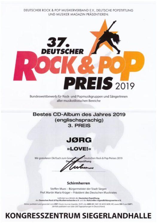 """37. Deutscher Rock- und Pop-Preis 2019 - Bestes CD Album 3. Platz für """"Love!"""""""