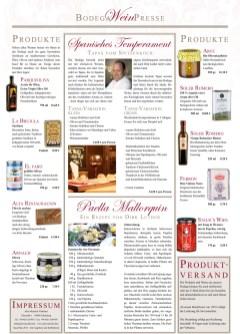 Spanische Produktübersicht im Katalog