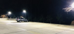 This is what the parking lot looked like most mornings. First one in. Last one out.