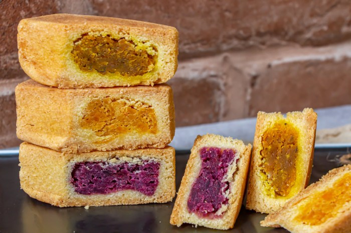 彰化大城,聖益餅店~香甜耐吃的地瓜酥,金磚造型加上紫色餡料迷人又濃郁。