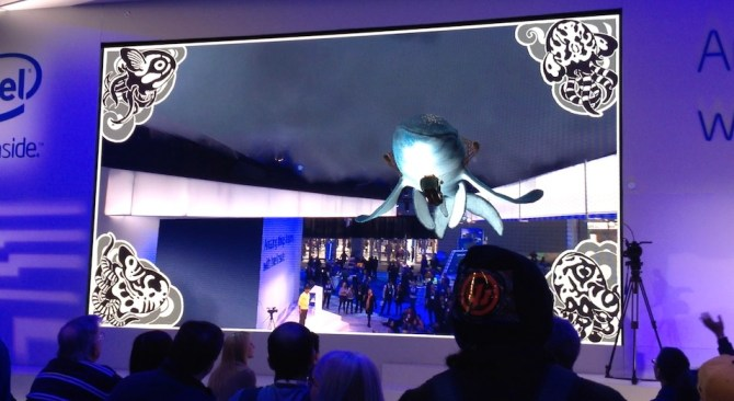 The Intel booth ran an interactive augmented reality presentation of the Leviathan swimming out of the screen over the audience several times each day.
