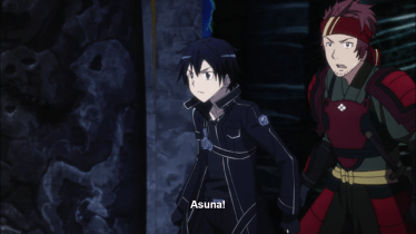 Kirito taking action after his waifu runs in