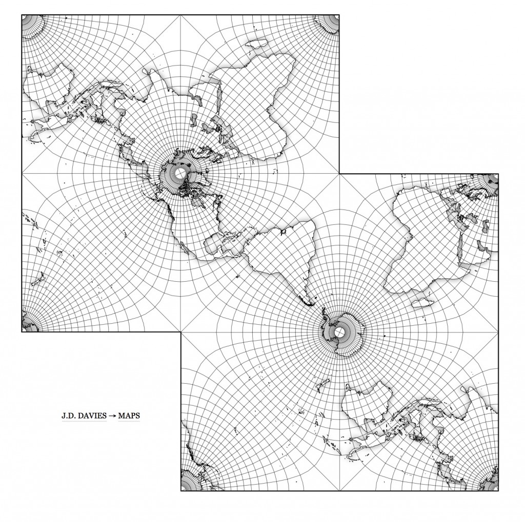 Global weather in a Pierce Quincuncial projection
