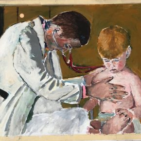 Pediatrician in White Coat Examining Patient Medical Wall Art