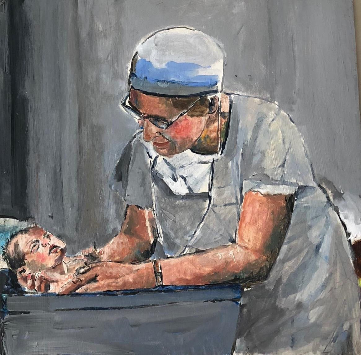 obstetrician caring birth giclee print