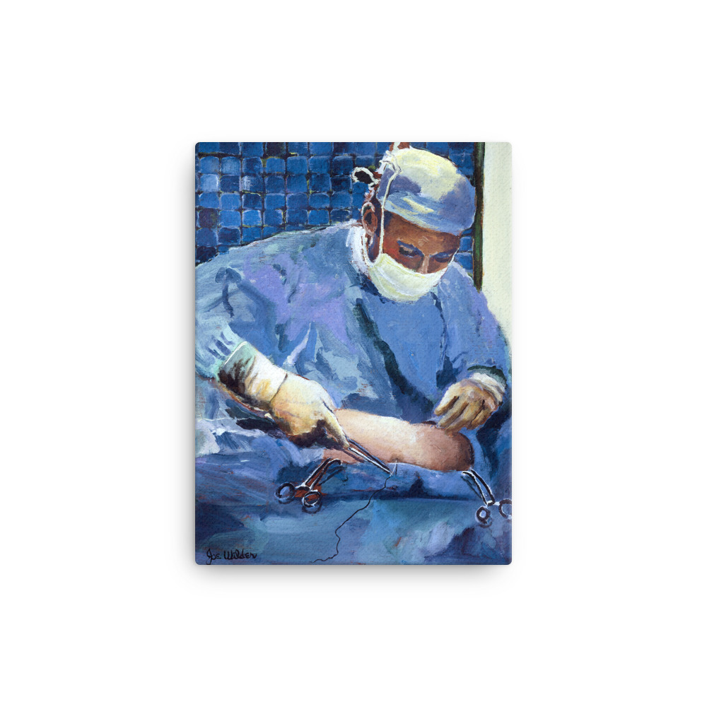 "Painting of Surgeon Placing Sutures 12"" x 16"""
