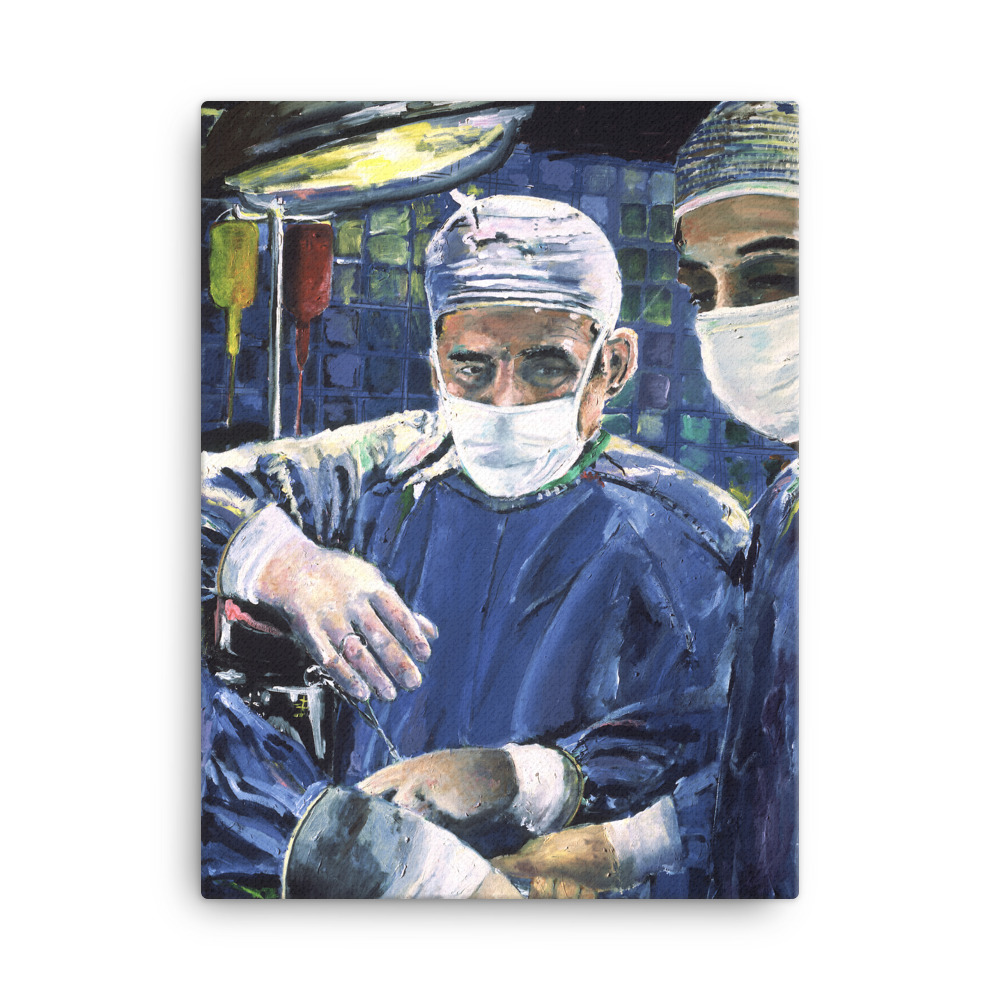 Magic Hands of Surgeon in Surgery Canvas Print Wall Art