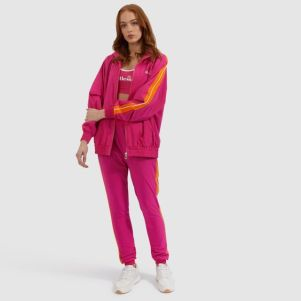 Woman in Pink Ellese Tracksuit With orange details