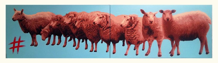 Pop Art, art, Joey Maas, Palm Springs Art, instagram, social media, antisocial media, hashtag, sheep, clones