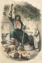 "Into the late 1800s, the story of St. Nicholas was blended with English traditions of Father Christmas and Norse legends from Scandinavia, giving Santa his standard accessory of reindeers, as well as a more magical, elfin appearance. The green of the English Father Christmas only lasted as far as ""A Christmas Carol's"" depiction of the ""Ghost of Christmas Past,"" which went a long way towards splitting the images apart."