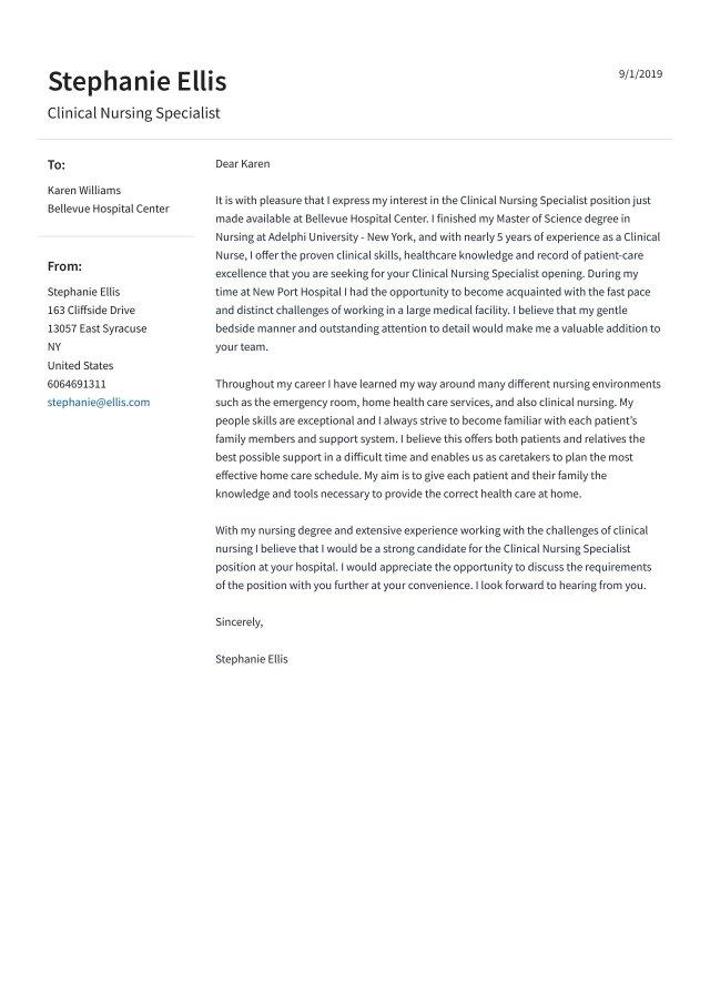 Nursing Cover Letter Example & Guide [18] - Jofibo