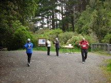 The drink station at the Black Bridge turnaround - me in last position.