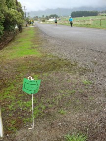 Route marker on a typical kiwi farmer temporary fence pole.