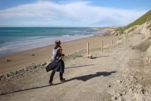 Running along the coastline on the southern side of Cape Kidnappers.