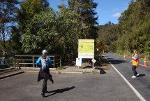 Approaching our first water station - a welcome sight after about 18km.