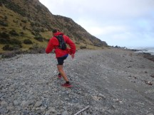 """Gerry finding his way back to the """"road"""" after being blown towards the sea."""