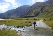 Crossing one of the little fords on the road to the proper start of the Rob Roy Glacier walk.
