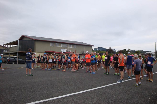 The field of runners at the race briefing.