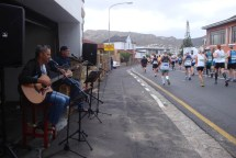 """A band entertaining runners. We were treated to """"Like a Rolling Stone"""" as we passed."""