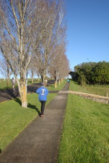On Massey campus, a small uphill stretch before looping around a car park and back down.