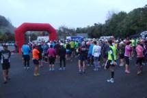 About 300 marathon participants, starting at Huka Falls.