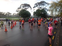 The field of marathon runners, wondering how long the rain is going to stay away.