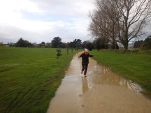"""""""Jumping"""" puddles. Uhum, or whatever you call trying to sidestep puddles after 34km."""