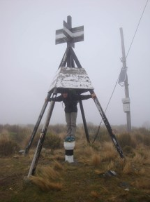 Trig in the mist. Unfortunately that meant no views in any direction.