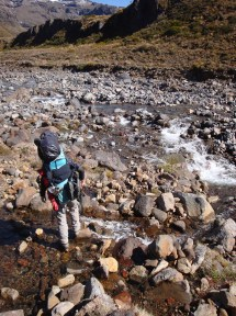 More stream crossings - some rock-hopping, others knee deep.