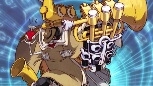 Big Band, Personagem de DLC, é um agente Anti-Skullgirl ciborgue que utiliza armas pneumáticas (e sonoras) para combater as forças do Skull Heart.