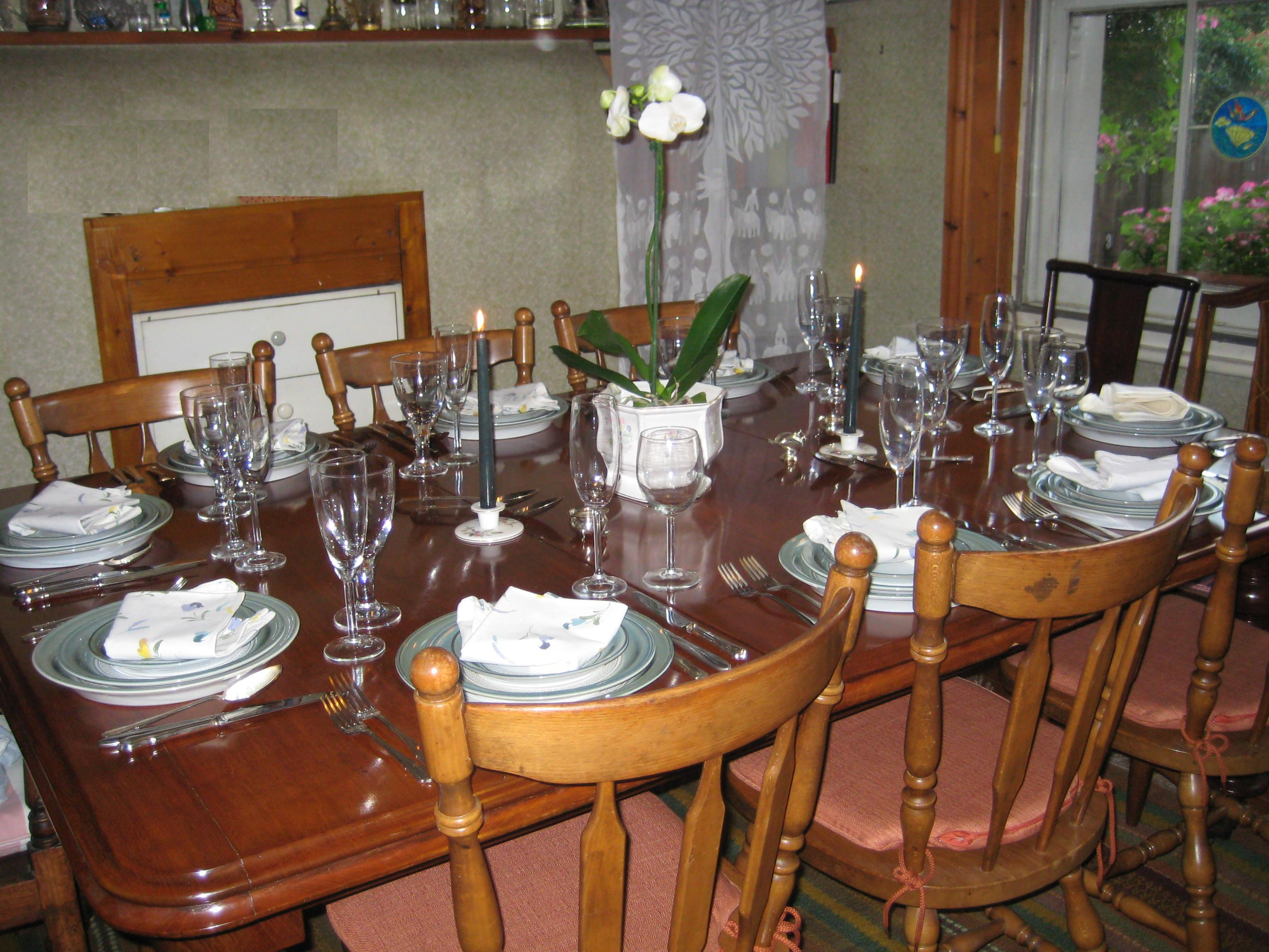The large dining table was salvaged from a sale of furniture. It was going to be thrown on the skip because nobody wanted it!