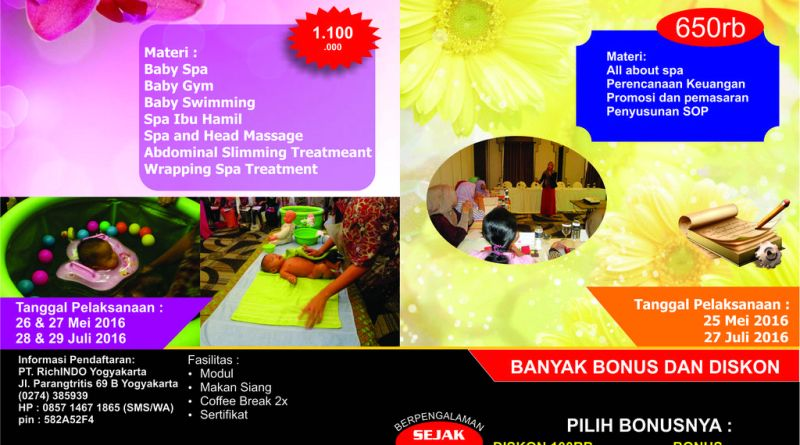 pelatihan mom and baby spa Mei dan Juli 2016