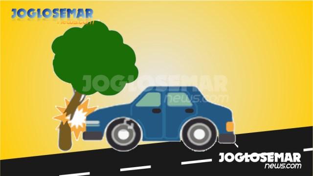 ilustrasijs kecelakaan tabrak pohon