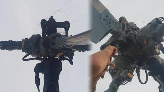 tali layangan menyangkut di baling baling helikopter bpbd kalbar