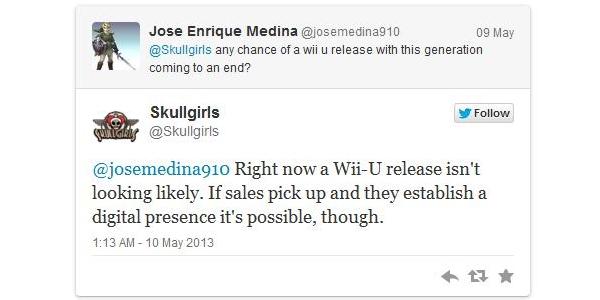 Skullgirls Wii U twitter screenshot