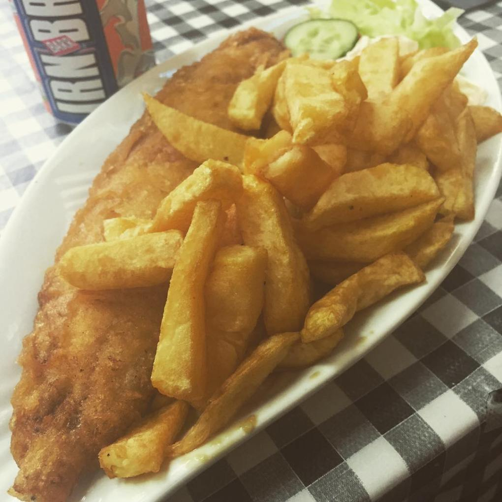 Fish and Chips in Buckie, Scotland