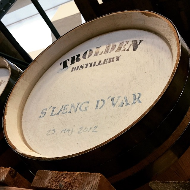 Whiskey casks at Trolden Distillery Kolding
