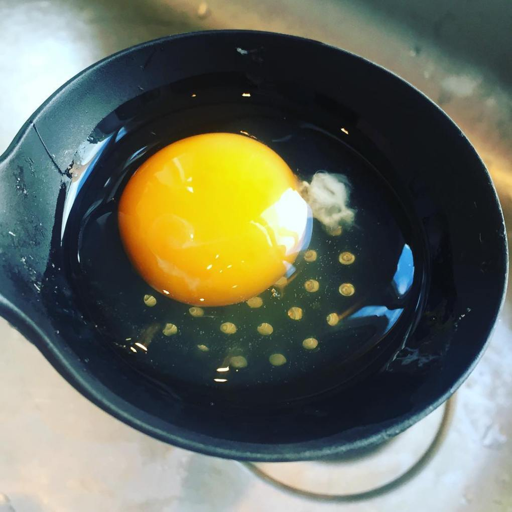 preparing egg for poaching
