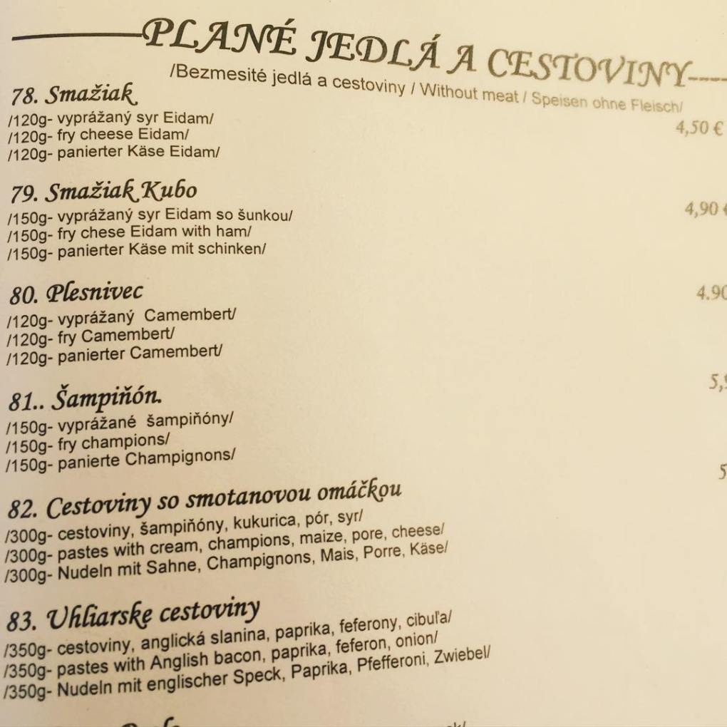 Slovak Vegetarian Menu